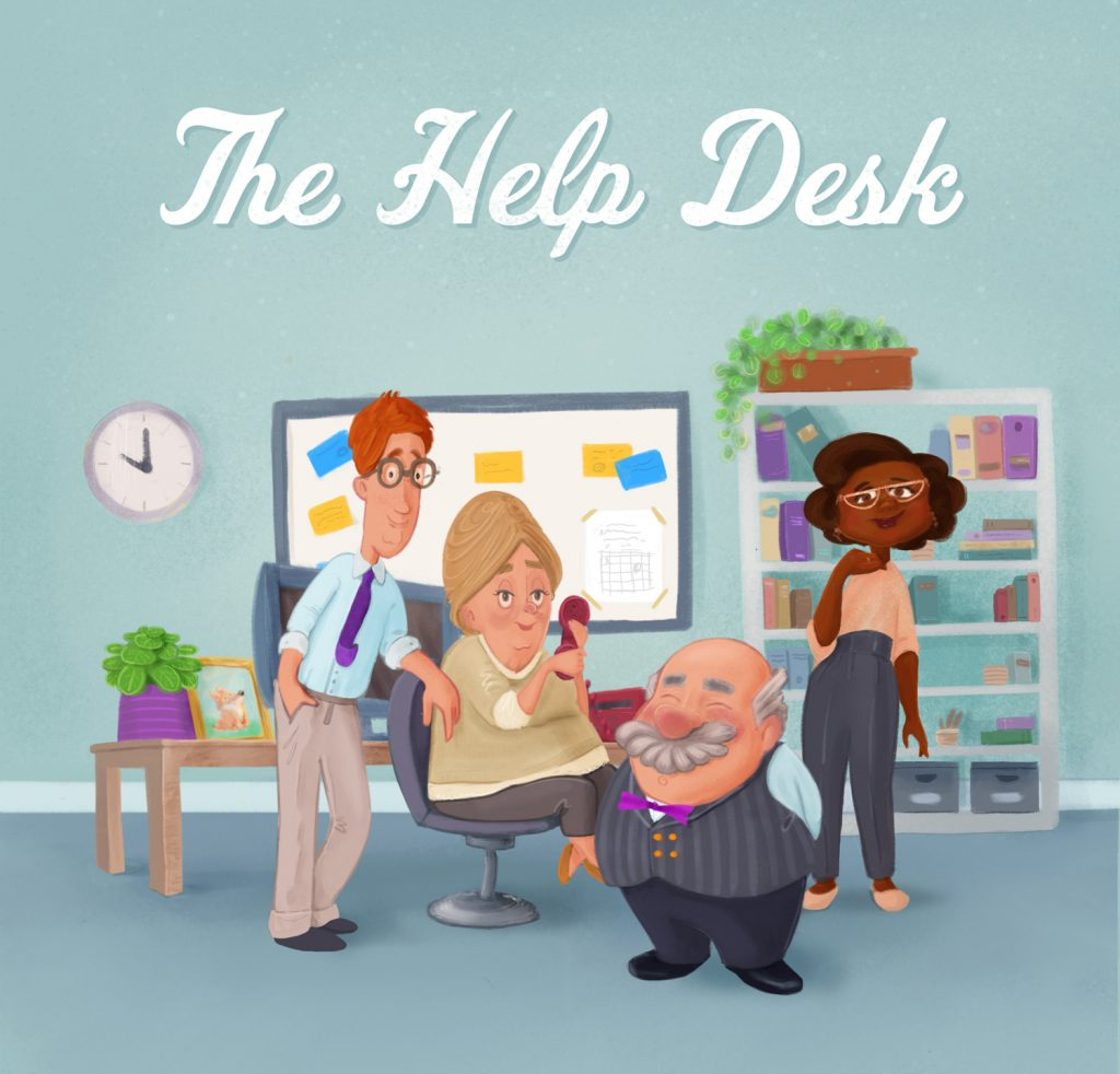 Illustration for customer support promotional material.