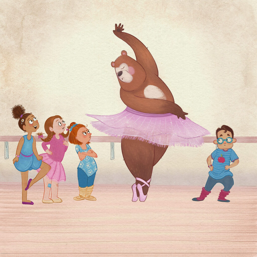 Illustration of a large bear in a kids ballet class