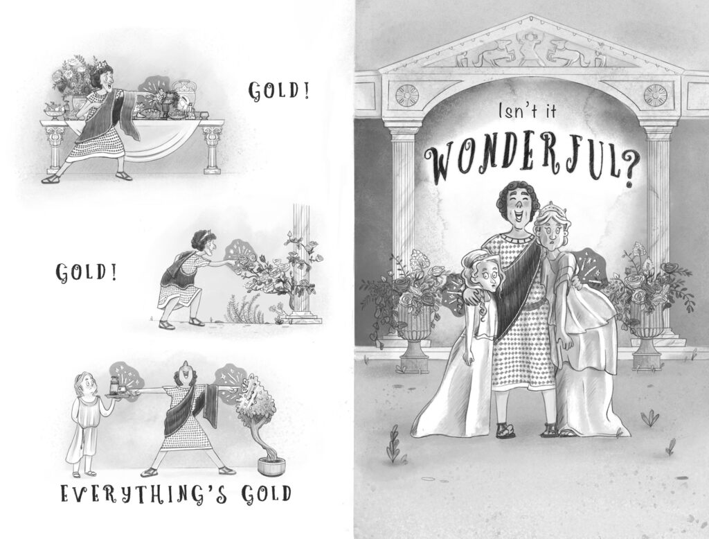 King Midas black and white Book Spread