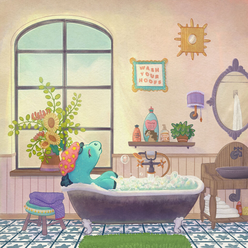 Illustration of a pony having a relaxing bubble bath in a vintage bathroom