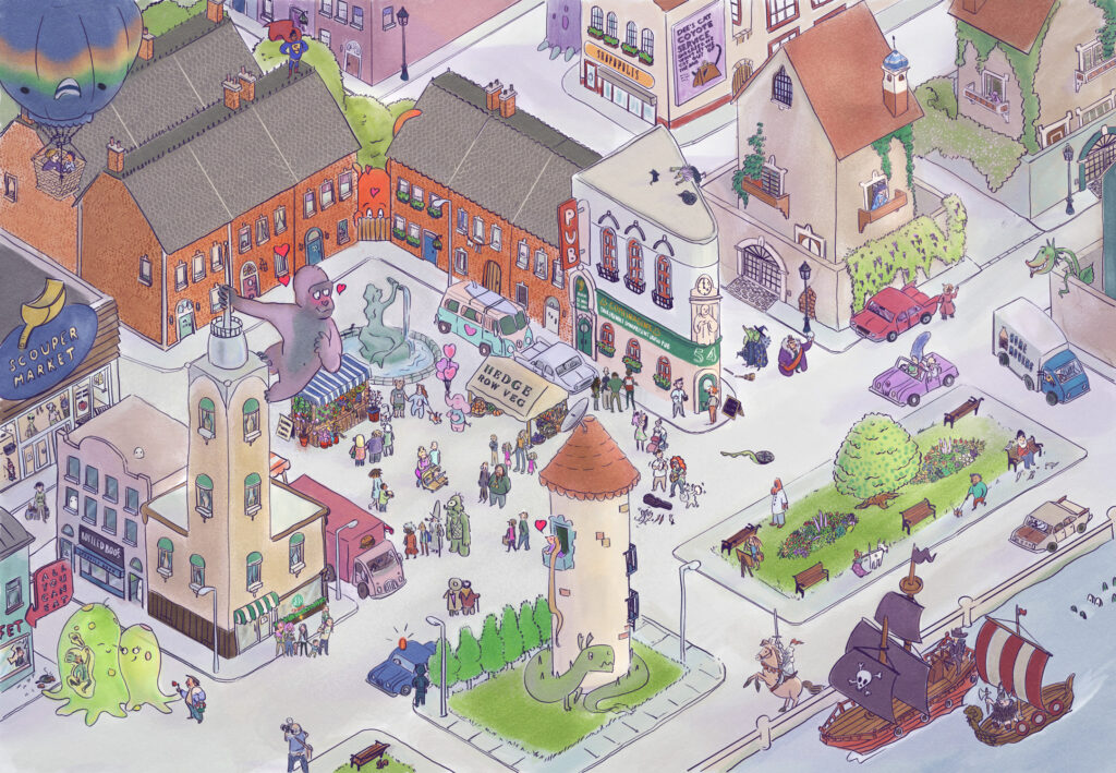 Isometric drawing of a city with creatures