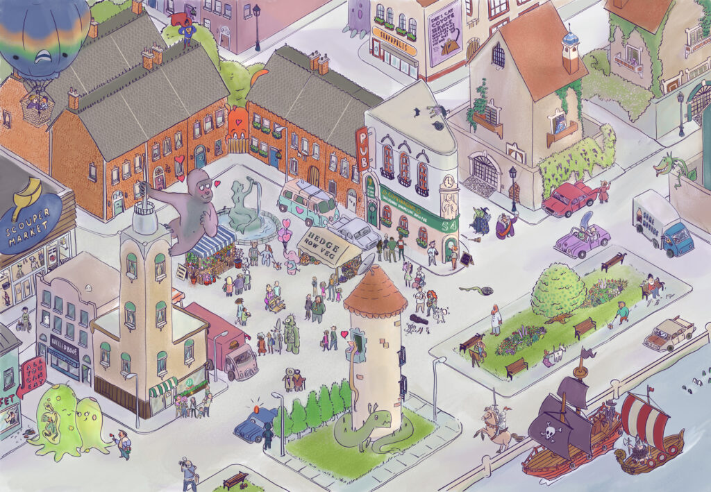 Isometric illustration of a small town with monsters and pirates