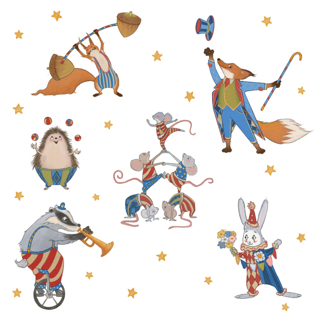 Woodland animals performing in a circus