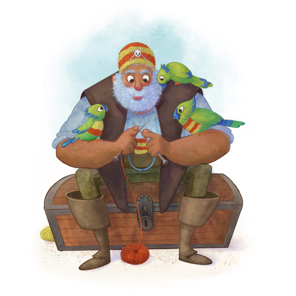 Illustration of a pirate knitting a jumper for one of his three parrots.