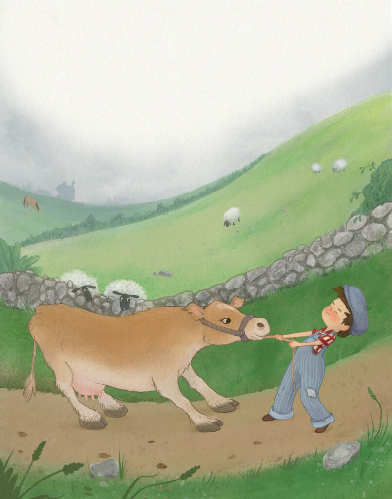 Jack and the bean stalk - Jack trying to take flossie the cow to town to sell