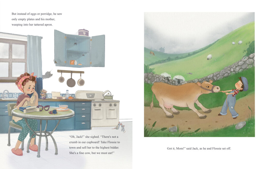 Jack and the bean stalk - spread - Jacks Mum crying in kitchen and Jack trying to take flossie the cow to town to sell