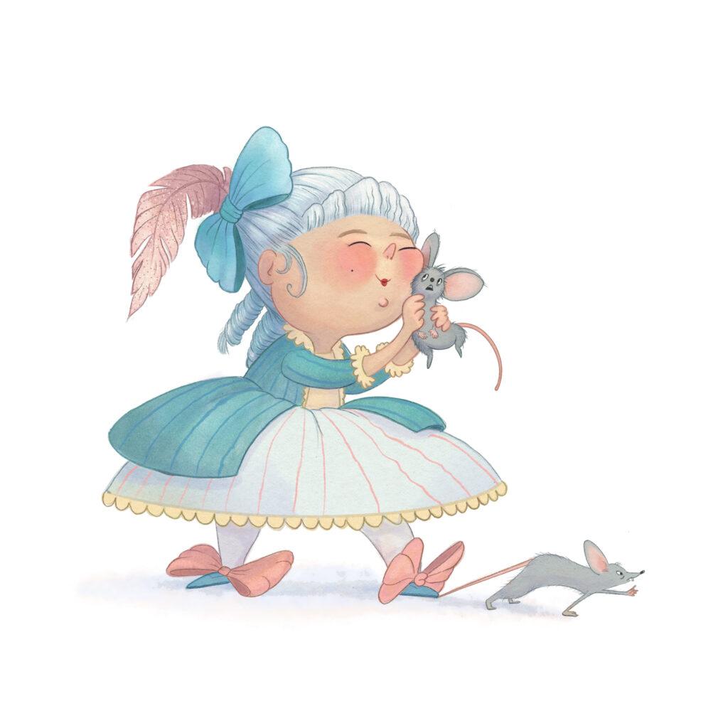Marie Antoinette cuddling a rat